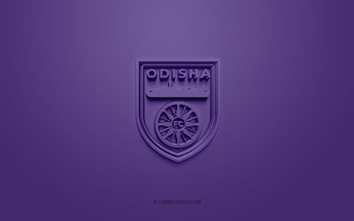 Odisha FC, creative 3D logo, purple background, 3d emblem, Indian football club, Indian Super League, Bhubaneshwar, India, 3d art, football, Odisha FC 3d logo