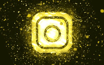 Instagram yellow logo, 4k, yellow neon lights, creative, yellow abstract background, Instagram logo, social network, Instagram