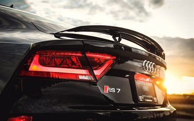 sunset, Audi RS7 Sportback, black rs7, close-up, Audi