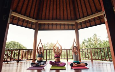 Yoga, three women, exercise, hands up, relaxation