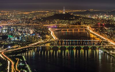 Seoul, night, city panorama, metropolis, city lights, South Korea