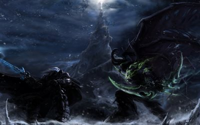 Illidan, Arthas, battle, warriors, WoW, Stormrage, World of WarCraft