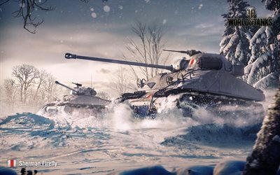 Sherman Firefly, winter, World of Tanks, WoT