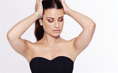 Lea Michele, American actress, make-up for brunette, beautiful woman, portrait