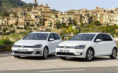 Volkswagen Golf GTE, 2017 cars, german cars, white golf, VW, Volkswagen