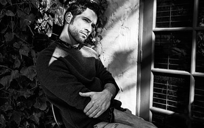 Tom Ellis, Welsh actor, portrait, monochrome