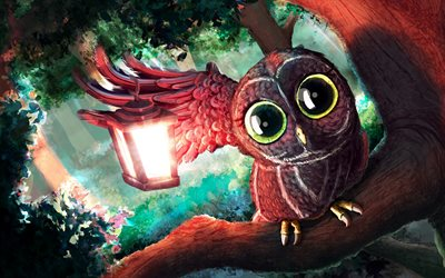 owl, lantern, forest, art, birds
