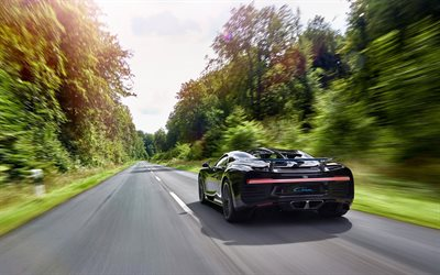 Bugatti Chiron, Back view, road, speed, hypercar, Bugatti