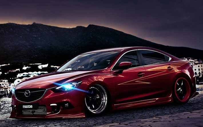 download wallpapers tuning mazda 6 headlights low rider. Black Bedroom Furniture Sets. Home Design Ideas