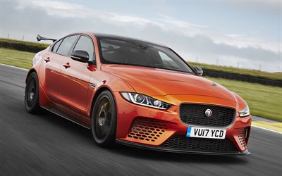 Jaguar XE SV, Project 8, 2018, Tuning jaguar, bronze XE, road, speed, Jaguar