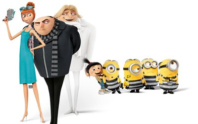 Minions, Grew, Lucy Wilde, Dru Gru, Despicable Me 3, 2017 movie, 3d-animation