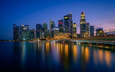 Singapore, skyline, Skyscrapers, night, Merlion Park, Marina Bay