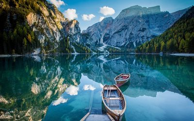 Italy, Bryes Lake, Alps, boats, pier, blue lake, mountains, summer