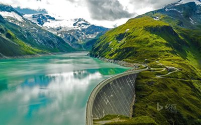 Mooser Dam, mountains, summer, Kaprun, Austria