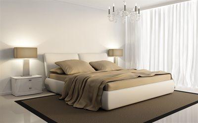 Stylish Modern Bedroom Interior, Modern Design, White Brown Bedroom, Large  Bed