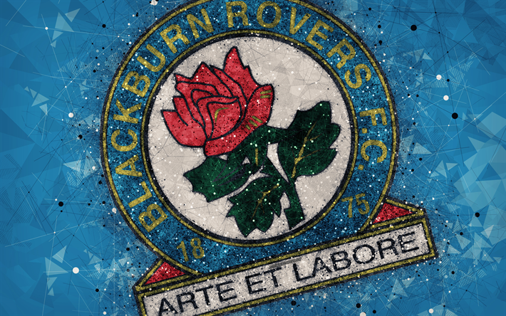 Download Wallpapers Blackburn Rovers FC, 4k, Geometric Art