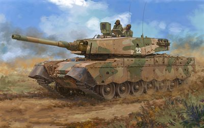 Olifant, South African main battle tank, Centurion A41, art, drawing, South Africa, desert, tank, modern armored vehicles