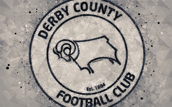 Download Wallpapers Derby County FC, 4k, Geometric Art
