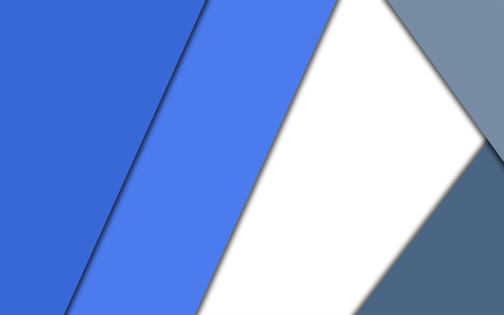 скачать обои 4k Material Design Blue And White Android