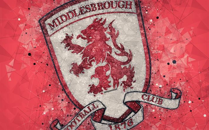 Download Wallpapers Middlesbrough FC, 4k, Geometric Art