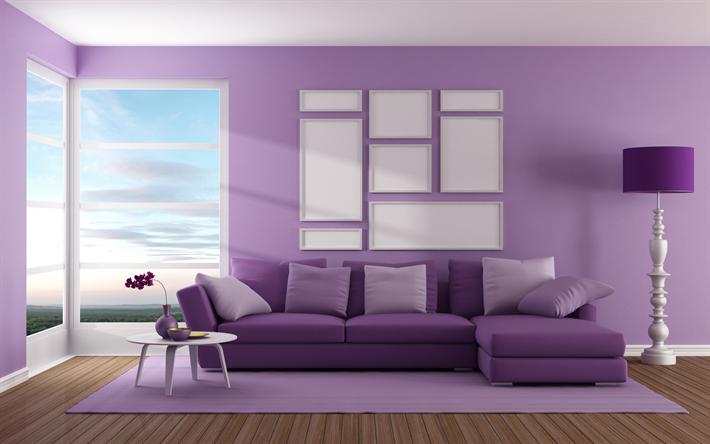 Wallpapers Living Room, Purple Living Room