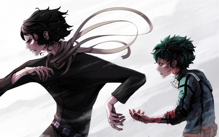Download Wallpapers Shouta Aizawa Izuku Midoriya Boku No