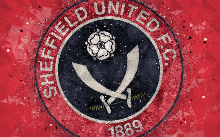 Download Wallpapers Sheffield United FC, 4k, Geometric Art