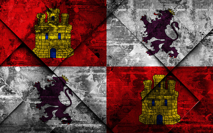 Flag of Castile and Leon, grunge art, rhombus grunge texture, Spanish autonomous community, Castile and Leon flag, Spain, Castile and Leon, Communities of Spain, creative art