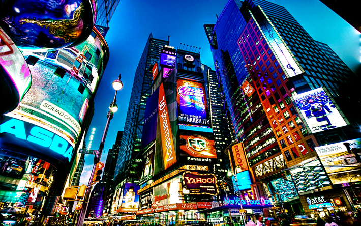 Download Wallpapers 4k Times Square Nyc Night Streets
