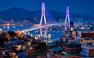 Busan, Etelä-Korea, Busan Harbor Bridge, Busan Bay, Yeongdo District, Nam District, illalla, sunset, tien silta, Busan kaupunkikuvaan