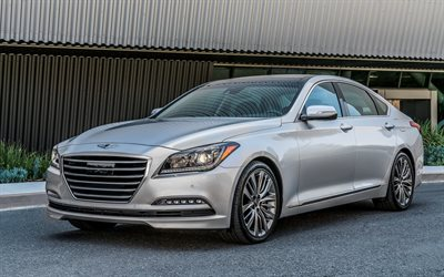 Hyundai Genesis, 2017, Silver Genesis, luxury sedan, Korean cars, Hyundai