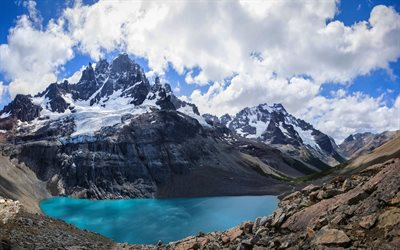 Andes, lake, Andean Mountains, summer, South America