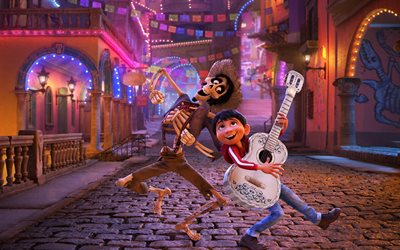 Hector, Miguel Rivera, 4k, 3d-animation, Disney, 2017 movies, Coco