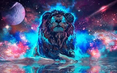 4k, space, lion, art, galaxy, nebula