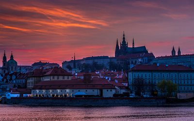 Prague, sunset, St Vitus Cathedral, evening, Czech, Prague attractions