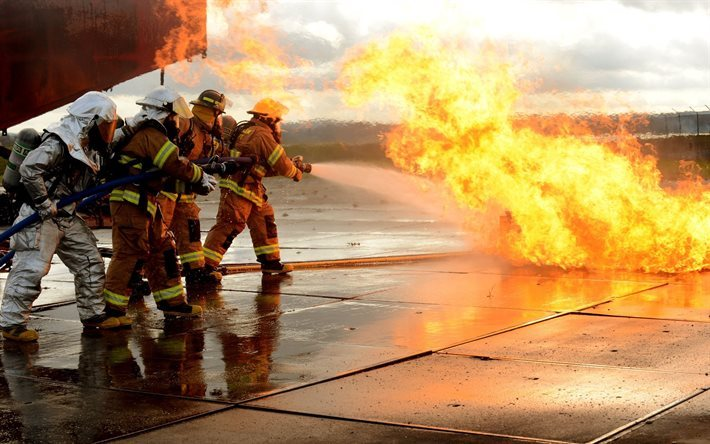 workers, men, firefight, fire, drill, costume