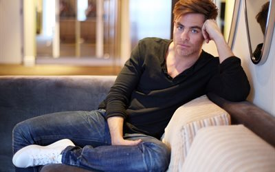 2016, chris pine, foto, la película, la celebridad, macho, el actor, sofá, hollywood