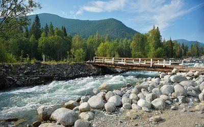 altai mountains, river, nature, stones, multinskoe lake, bridge, russia