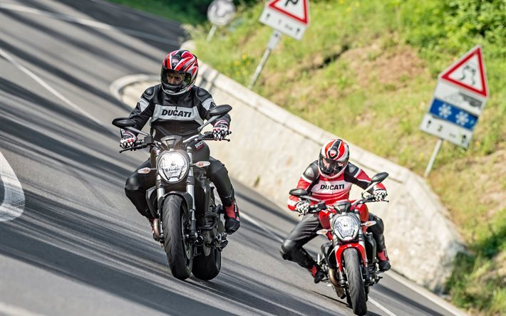 track, 2016, ducati, monster, 821, paar