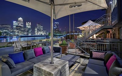 terrace, night, city, columbia docklands, colombia, 2016, restaurant, london