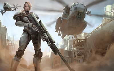 fantasy art, weapons, girl, futuristic, fiction, helicopter