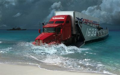 shore, transport, kenworth, truck, red