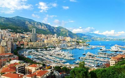 monaco, city, monte carlo, coast, yachts, summer