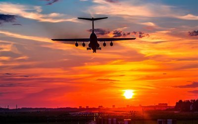 sunset, il-76, landing, aircraft, airport, il 76
