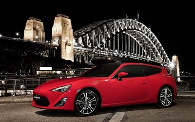 città, ponte, 2016, concetto, toyota 86, rosso, shooting brake, luci
