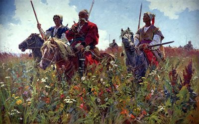 creativity, field, cossacks, picture, painting