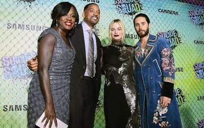 suicide squad, jared leto, actors, premiere, cara delevingne, will smith, viola davis