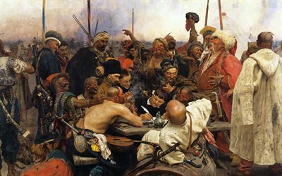 realism, cossacks, 1880, 1891, ilya repin, historical painting, oil paint