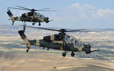 t-129, with, army, combat helicopter, turkish air force