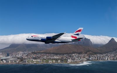 airbus a380, city, sky, 861, plane, cape town, aviation